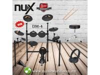 NUX DIGITAL DRUM BASIC BUNDLE ELECTRICAL DRUM DM 4 WITH DRUM STICK DRUM STOOL HEADPHONE (DM-4 / DM4)