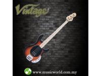 VINTAGE GUITAR REISSUED V96 4-STRING ACTIVE BASS ~ SUNSET SUNBURST