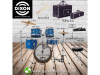 DIXON Drum Set Jet Set Plus Silent Drum set Blue Sparkle Travel Drum Kit