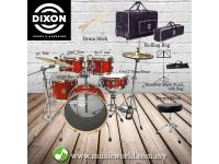 DIXON Drum Set Jet Set Plus Silent Drum set Red Sparkle Travel Drum Kit