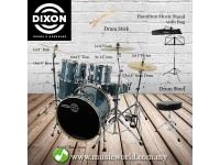 Dixon Spark Drum Set Complete Standard 5 Piece Drum Kit Bundle Misty Gun Metal