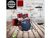 Dixon Spark Drum Set Complete Standard 5 Piece Drum Kit Bundle Misty Wine Red