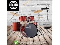Dixon Spark Drum Set Complete Standard 5 Piece Drum Kit Bundle Cyclone Red