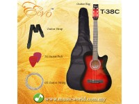 EVO T-38C Red Acoustic Guitar 38 Inch Beginner Guitar Student Guitar Free Bag String Pick Strap