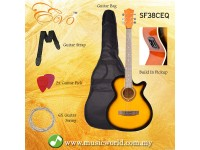 EVO SF38CEQ Sunburst Acoustic Guitar With Pickup 38 Inch Beginner Guitar Pick Up Student Guitar Free Bag String Pick Strap