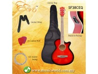 EVO SF38CEQ RED Acoustic Guitar With Pickup 38 Inch Beginner Guitar Pick Up Student Guitar Free Bag String Pick Strap