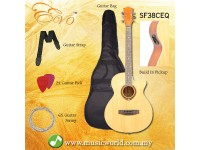 EVO SF38CEQ Natural Acoustic Guitar With Pickup 38 Inch Beginner Guitar Pick Up Student Guitar Free Bag String Pick Strap