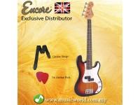 Encore E20SB 7/8 Bass Guitar 3 Tone Sunburst Free Strap and Pick