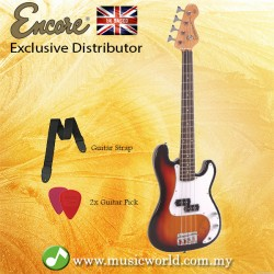 Encore E20SB 7/8 Bass Guitar 3 Tone Sunburst Free Strap and Pick