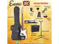 ENCORE EBP-E4BLK Bass Guitar Package Starter Pack Electric Bass Guitar Bundle