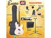 ENCORE EBP-E4VW White Bass Guitar Package Starter Pack Electric Bass Guitar Bundle