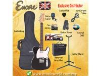 ENCORE EBP-E2BLK Black Electric Guitar Package Starter Pack Electric Guitar Bundle