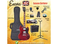 ENCORE EBP-E69BLK Cherry Red Electric Guitar Package Starter Pack Electric Guitar Bundle