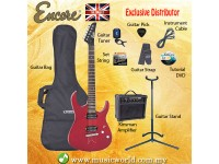 ENCORE EBP-E89TRD THRU RED Electric Guitar Package Starter Pack Electric Guitar Bundle