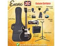 ENCORE EBP-E99BLK Black Electric Guitar Package Starter Pack Electric Guitar Bundle