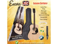 ENCORE EWP-100N Dreadnought Natural Wood Acoustic Guitar Bundle Starter Pack Package