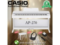 CASIO AP-270 88 Key Celviano Digital Piano White With Bench and Headphone (AP270 AP 270)